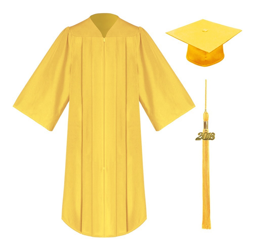 Green and gold cap and gown
