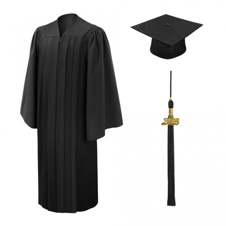 Deluxe Black Cap, Gown and Tassel