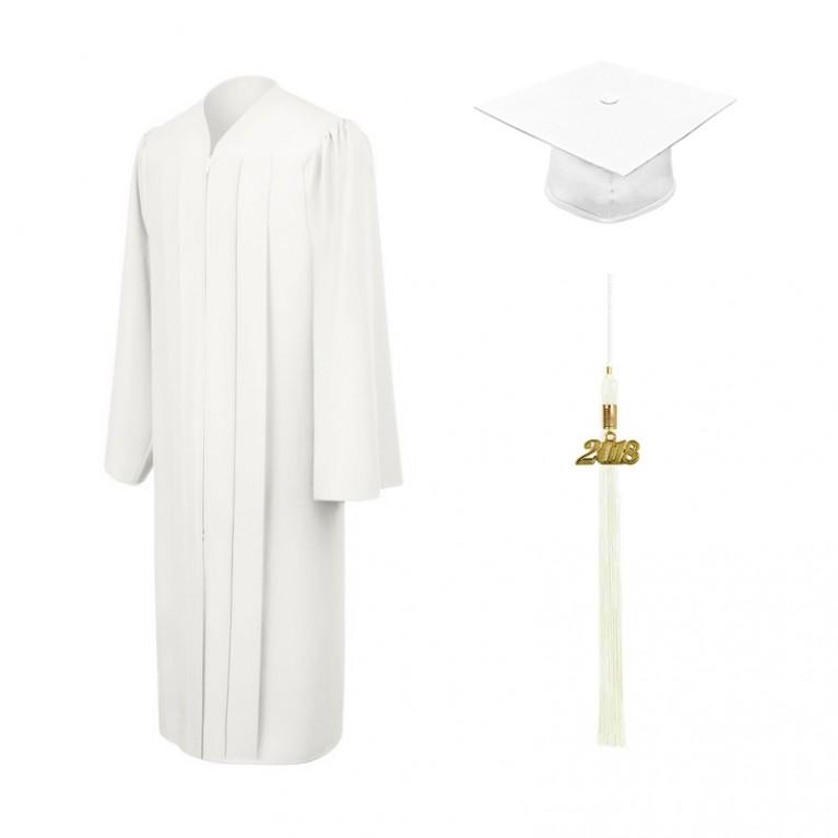 Matte White Cap, Gown & Tassel