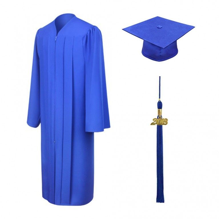 Matte Royal Blue Cap, Gown & Tassel