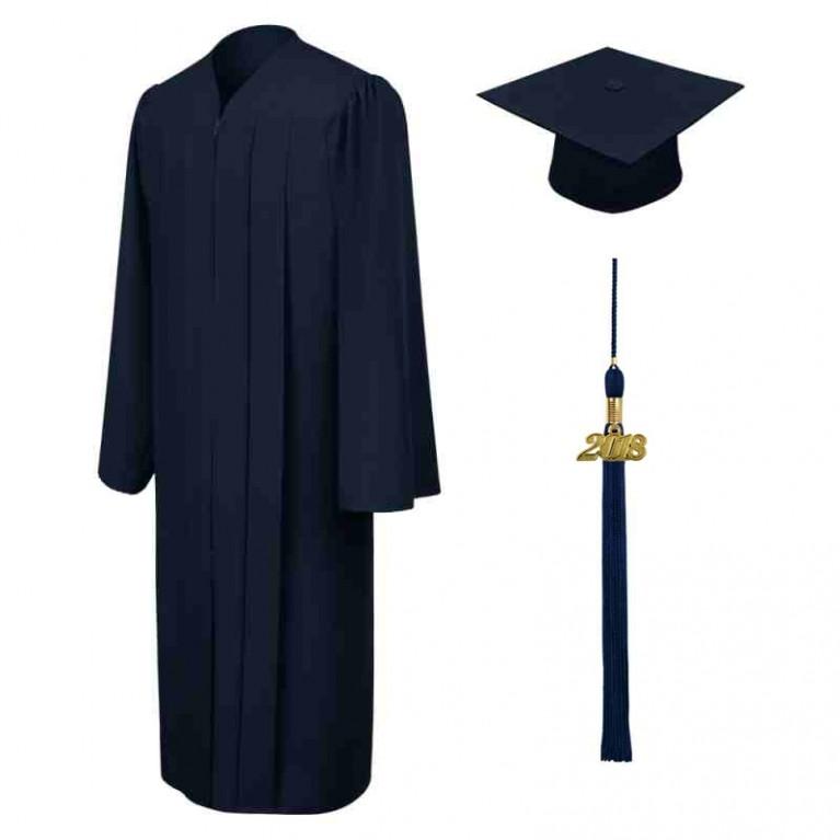 Matte Navy Blue Cap, Gown & Tassel