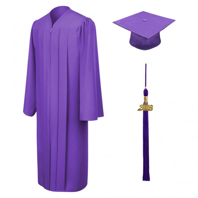 Matte Purple Cap, Gown & Tassel