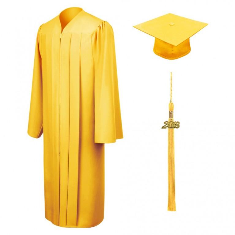 Matte Gold Cap, Gown & Tassel