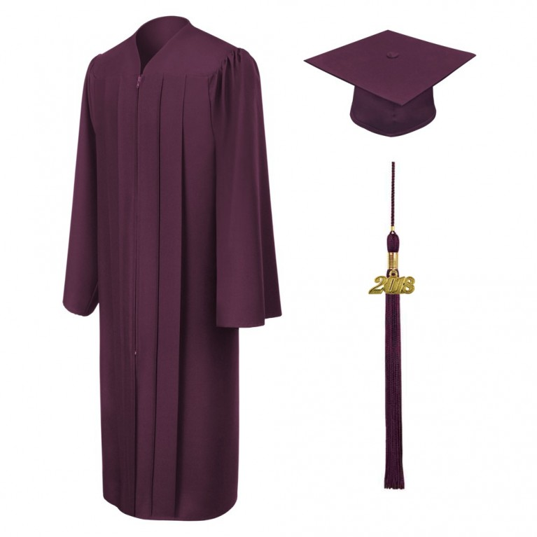 Matte Maroon Cap, Gown & Tassel