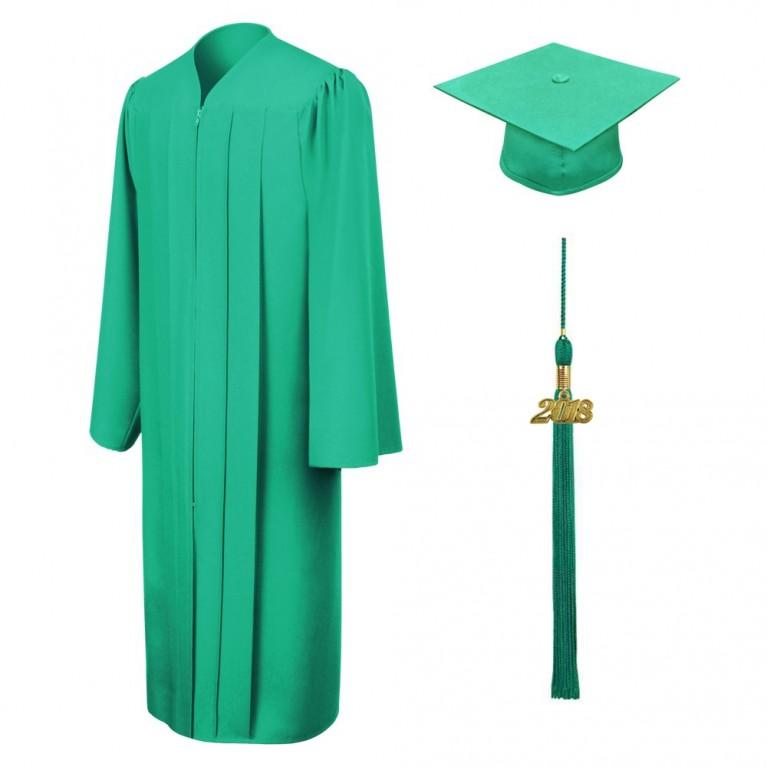 Matte Emerald Green Cap, Gown & Tassel