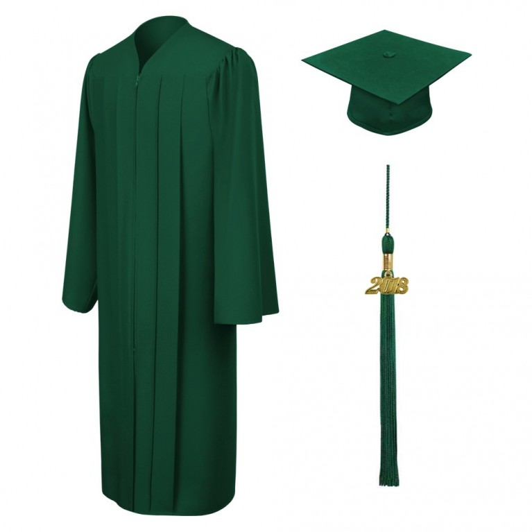Matte Hunter Cap, Gown & Tassel