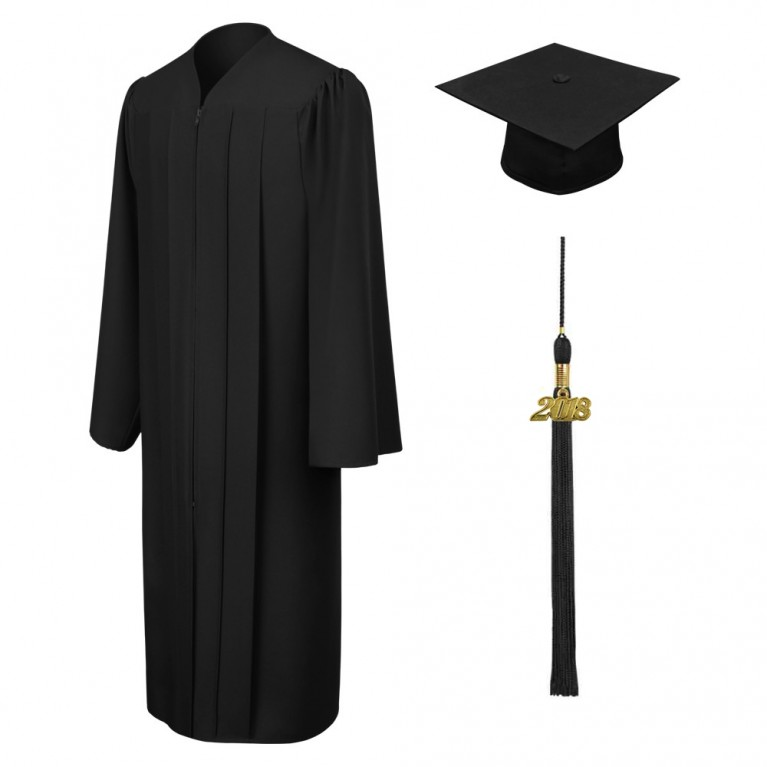 Matte Black Cap, Gown & Tassel