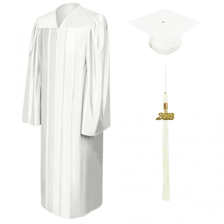 Shiny White Cap, Gown & Tassel