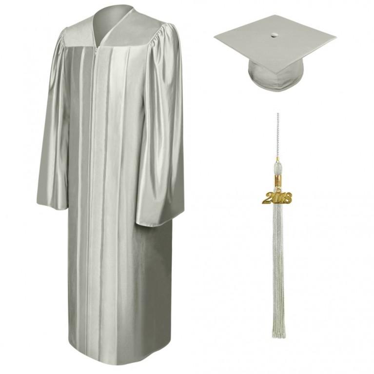 Shiny Silver Cap, Gown & Tassel