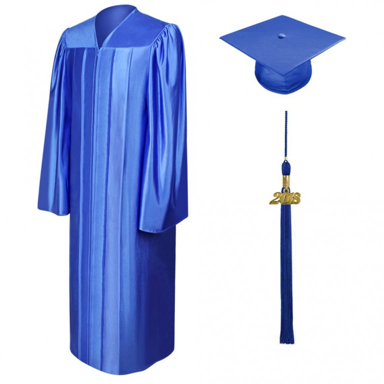 Shiny Royal Blue Cap, Gown & Tassel