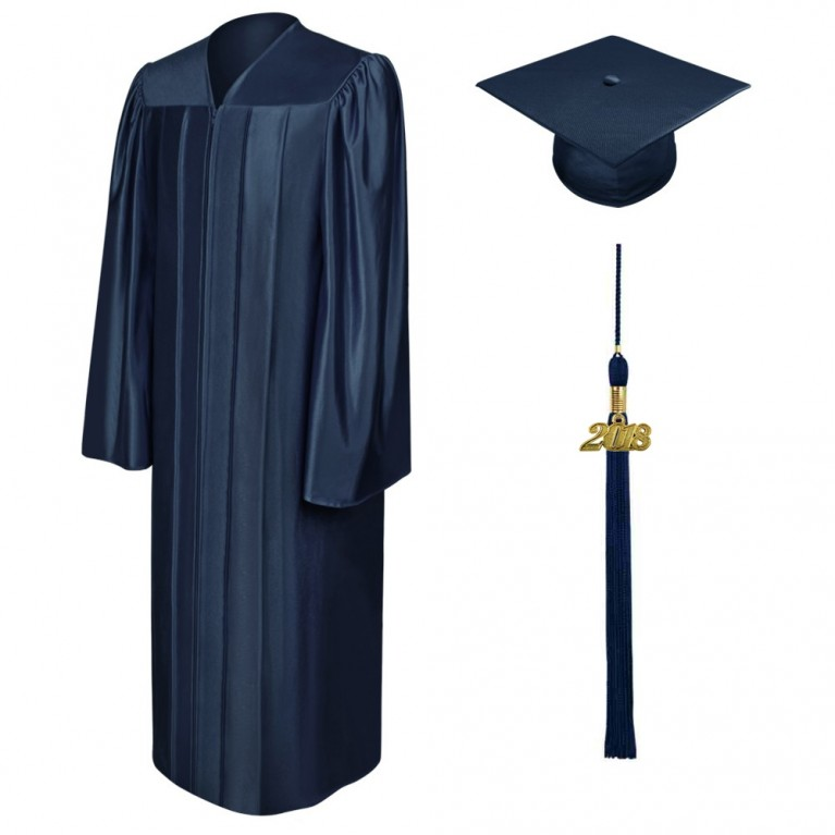 Shiny Navy Blue Cap, Gown & Tassel