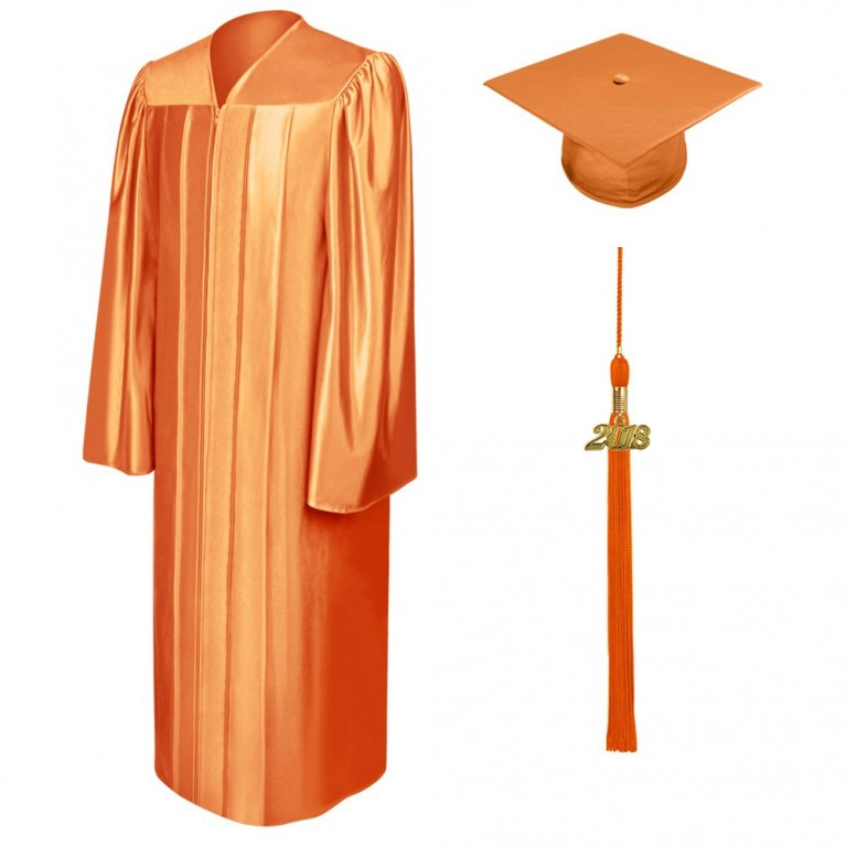 Shiny Orange Cap, Gown & Tassel