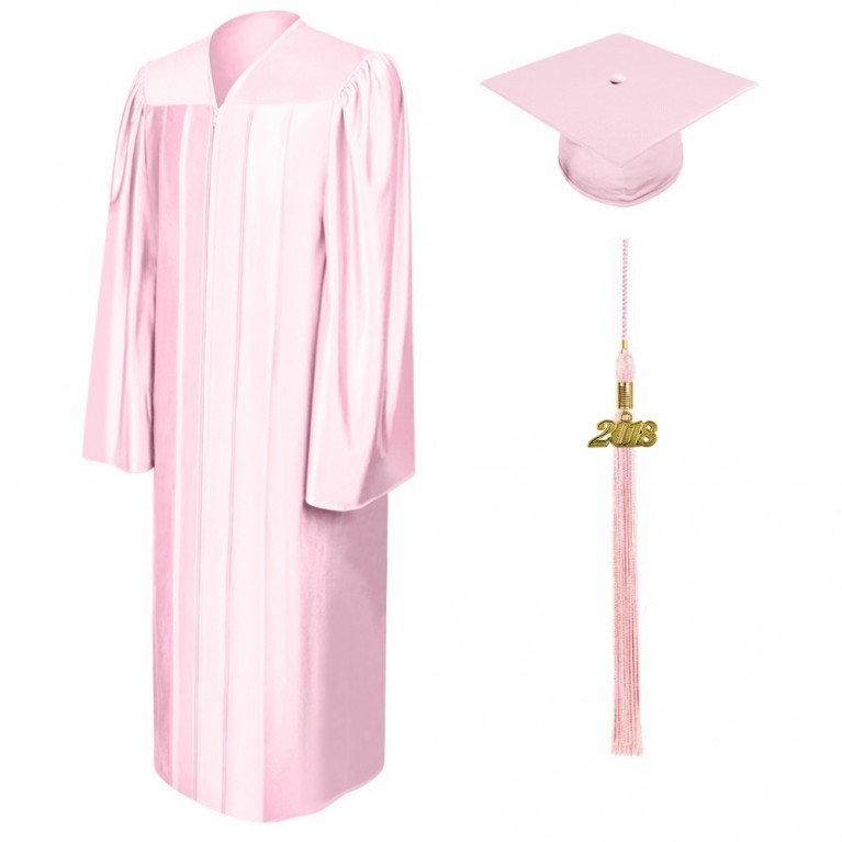 Shiny Pink Cap, Gown & Tassel