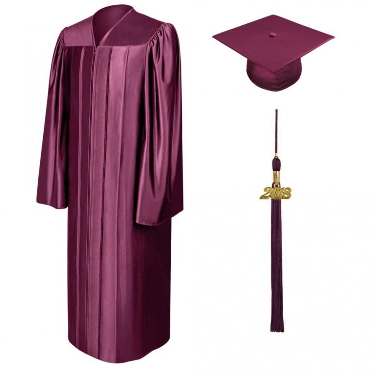 Shiny Maroon Cap, Gown & Tassel