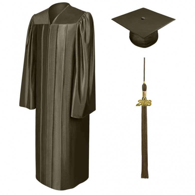 Shiny Brown Cap, Gown & Tassel