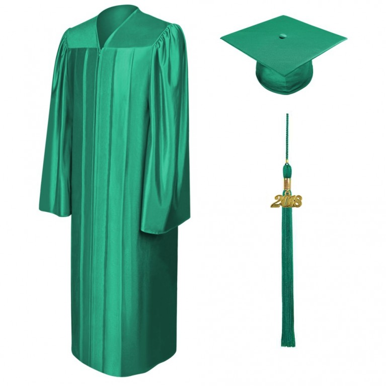 Shiny Emerald Green Cap, Gown & Tassel