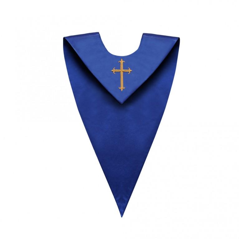 Royal Blue V-Neck Choir Stole