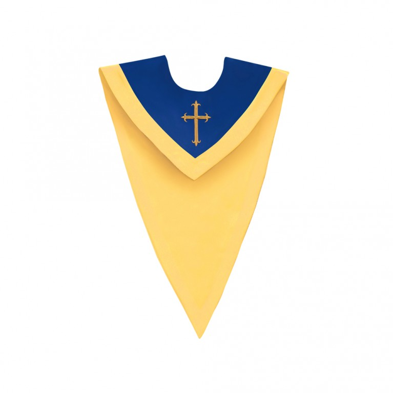 Royal Blue/Gold V-Neck Choir Stole