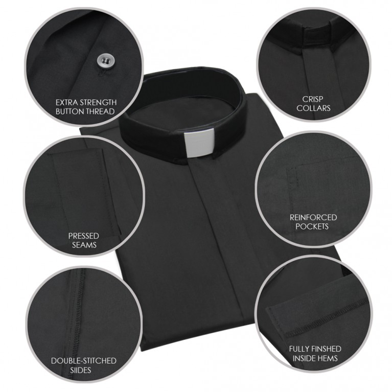 Black Long Sleeve Clergy Shirt
