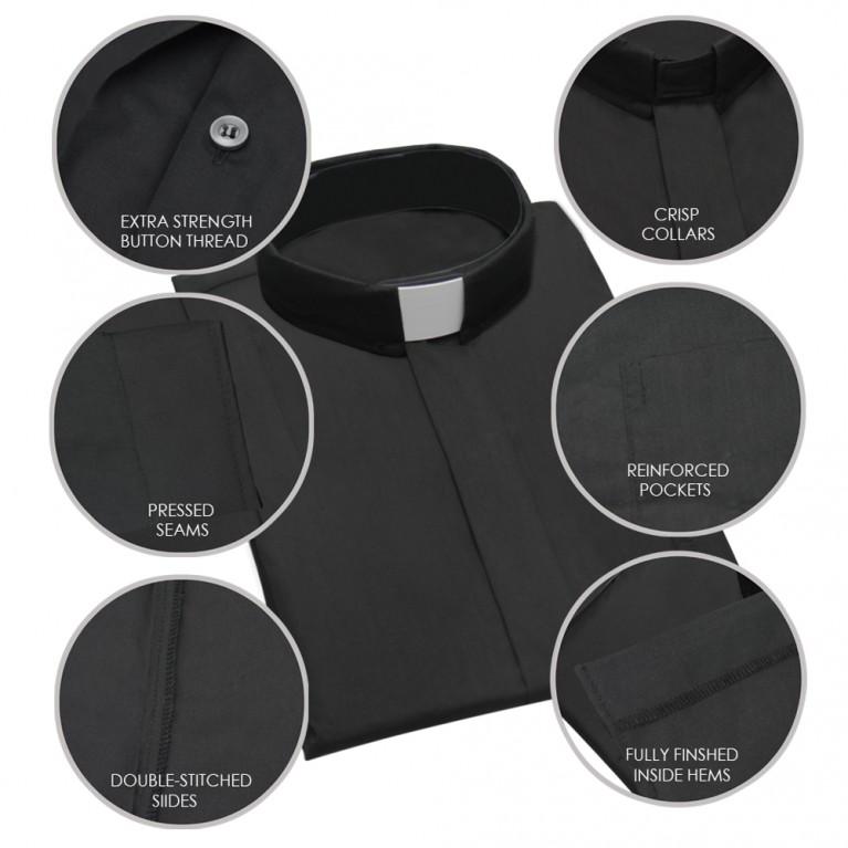 Black Short Sleeve Clergy Shirt