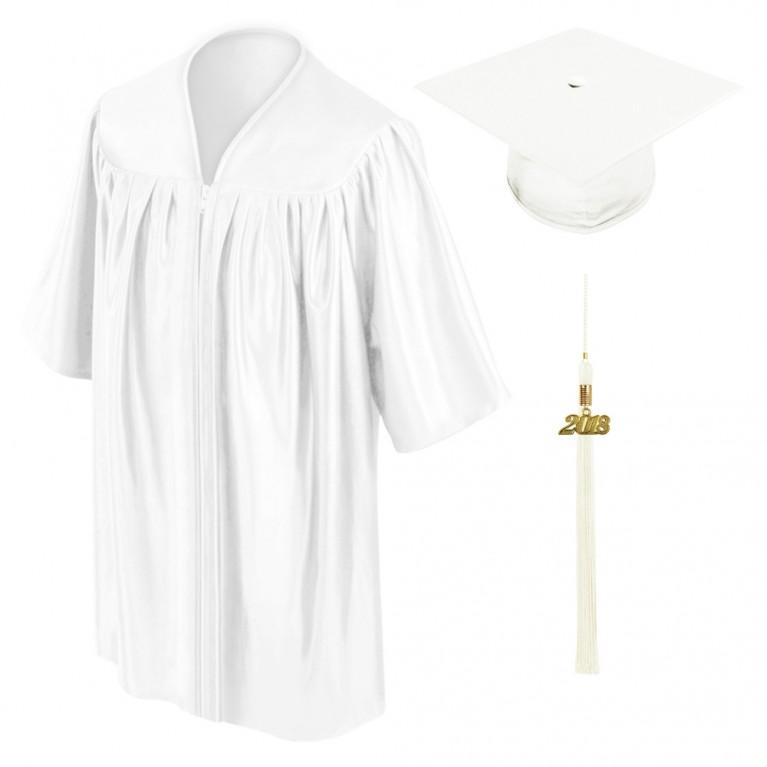 White Child Cap, Gown & Tassel