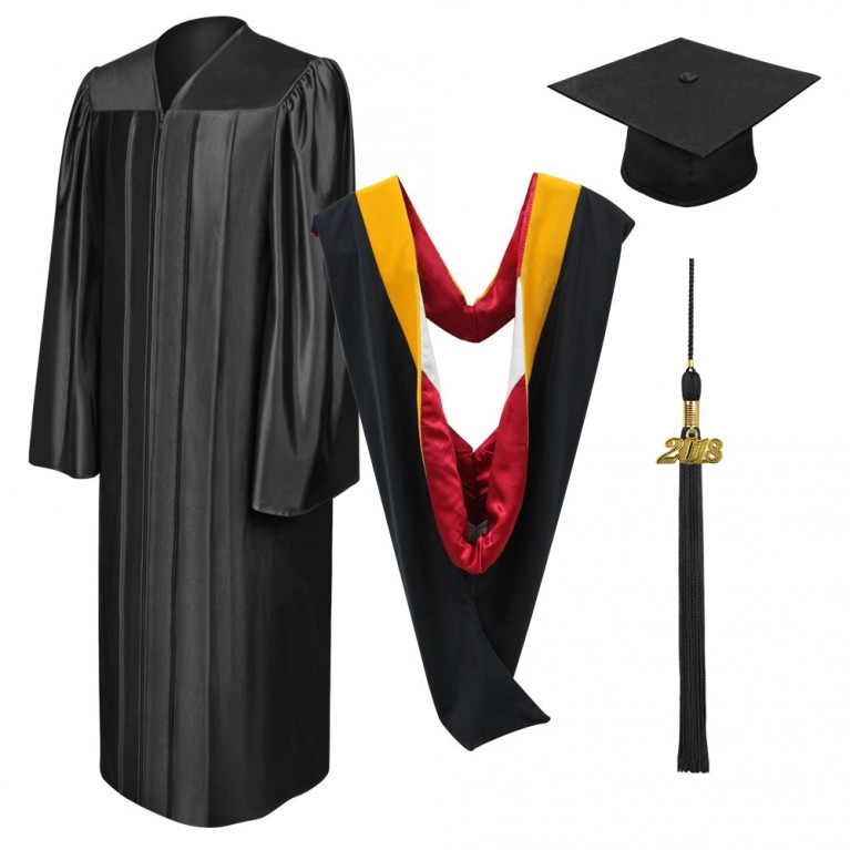 Shiny Black Bachelors Cap, Gown, Tassel & Hood