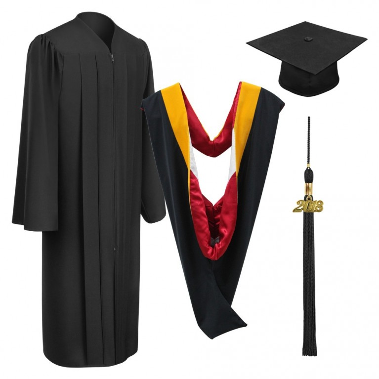 Matte Black Bachelors Cap, Gown, Tassel & Hood