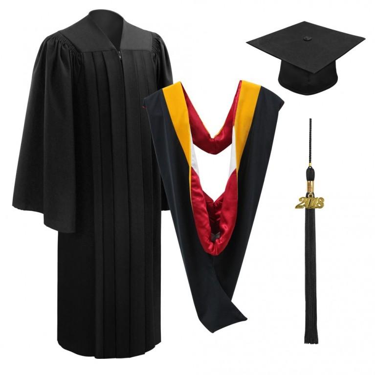 Deluxe Black Bachelors Cap, Gown, Tassel & Hood